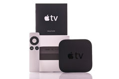 Apple TV. And Included Accessories and Retail Box Stock Photo