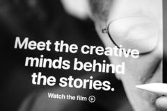 Apple TV Plus streaming service watch the film. Paris, France - Mar 27, 2019: POV man holding Apple Pencil over the new iPad Pro Meet the creative minds behind stock photo