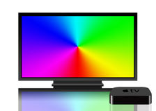 Apple TV y pantalla de la televisión Foto de archivo libre de regalías