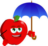 Apple with umbrella Royalty Free Stock Photos