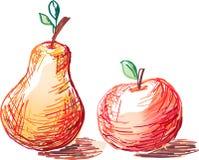 Apple und Birne Stockbild