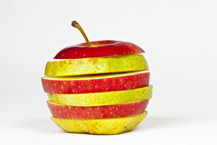 Apple und Birne in einem Stockbilder