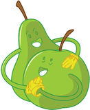 Apple-und Birnenkarikaturumfassung stockbild