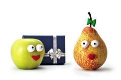 Apple-und Birnenlächeln lizenzfreies stockfoto