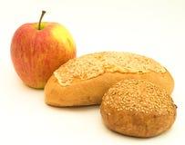 Apple und Brot stockfotos