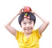 Apple und das kleine Mädchen Stockfoto