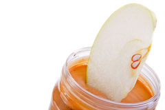 Apple und Erdnussbutter Stockfoto