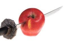 Apple und Messer Stockbilder