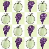 Apple-und Trauben-Block-Hintergrund Stockfotografie