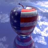 Apple with us flag texture Royalty Free Stock Photos