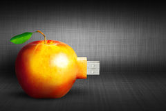 Apple with usb connector. New biological technology concept illu Stock Photo