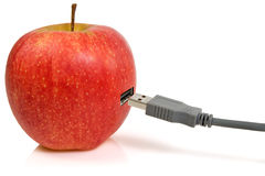 Apple and USB plug Royalty Free Stock Photos