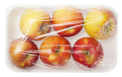 Apple in vacuum packing Royalty Free Stock Images