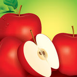 Apple vector illustration on green background. Stock Image