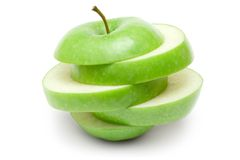 Apple verde affettato fotografia stock libera da diritti