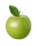 Apple verde con un percorso di residuo della potatura meccanica Fotografia Stock