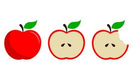 Apple vermelho frutifica vetor ajustado em três etapas Fotos de Stock Royalty Free