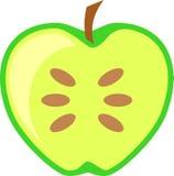 Apple vert portent des fruits vecteur divisé en deux d'isolement Photos stock