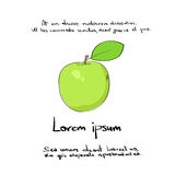Apple vert remettent l'aspiration Logo Color Vector illustration stock