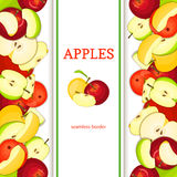 Apple vertical seamless border. Vector illustration fruit coposition Yellow red and green apples fruits whole  slice Royalty Free Stock Images