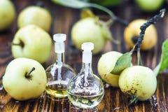Apple vinegar in glass jar with ripe green fruit. Bottle of apple organic vinegar on wooden background. Healthy organic food. Apple vinegar in glass jar with Stock Photos