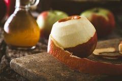 Apple vinegar on wood Stock Photo