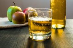 Apple vinexponeringsglas, äpplen, flaska av äppeljuice Arkivbilder
