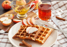 Apple waffles for breakfast Royalty Free Stock Image
