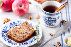 Apple, walnut cake, loaf, bread with fresh apples Stock Images
