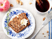 Apple, walnut cake, loaf, bread with fresh apples Royalty Free Stock Photo