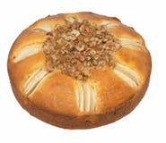 Apple and Walnut Cake on White Background. Stock Photo