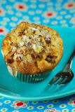 Apple and Walnut muffin on blue Stock Photography