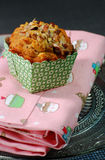 Apple and Walnut muffin on pink Stock Photos