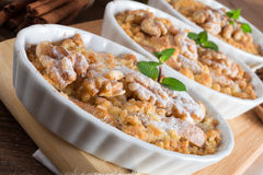 Apple Walnut streusel cake Stock Photos