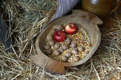 Apple and walnuts. An apple and walnuts in an old wooden basket Stock Photography