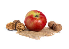 Apple and walnuts Royalty Free Stock Image