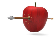Apple was hit by arrow. 3D model of red apple was hit and perforated by arrow Stock Photo