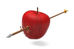 Apple was hit by arrow. 3D model of red apple was hit and perforated by arrow Royalty Free Stock Image