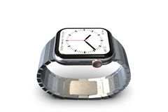 Apple Watch 4, 44 mm similar smartwatch - silver. Smart watch similar to Apple Watch 4, 44 mm, silver, aluminum. High angle perspective on white background stock photos