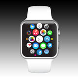 Apple iPhone watch. The new Apple Watch or iWatch is the most personal product Apple has ever developed as its the first Apple product designed to be worn. Along Stock Photos