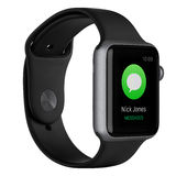 Apple Watch Sport 42mm Space Gray Aluminum Case with Black Band. Varna, Bulgaria - October 16, 2015: Left side view of Apple Watch Sport 42mm Space Gray Aluminum Royalty Free Stock Photography
