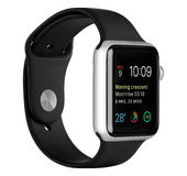 Apple Watch Sport Silver Aluminum Case with Black Sport Band Stock Images