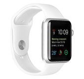 Apple Watch Sport Silver Aluminum Case with White Sport Band Royalty Free Stock Images