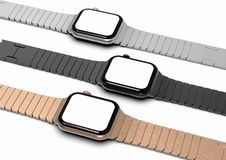 3 Apple Watch 4 style smartwatch devices, flat on table vector illustration