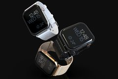 3 Apple Watch 4 style smartwatches floating. Three Smart watches similar to Apple Watch 4, 44 mm, space gray, silver, gold, aluminum. Dynamic perspective on dark royalty free illustration