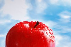 Apple with water drops against. Apple with  water drops against the blue sky Royalty Free Stock Images