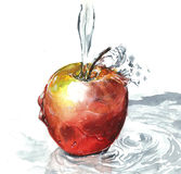 Apple with water paint Royalty Free Stock Photography