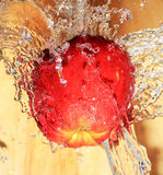 Apple in water. Red apple under water splashing Royalty Free Stock Photo