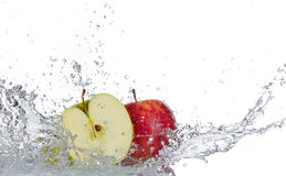 Apple with water splash Stock Photo