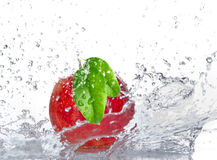 Apple with water splash Stock Image